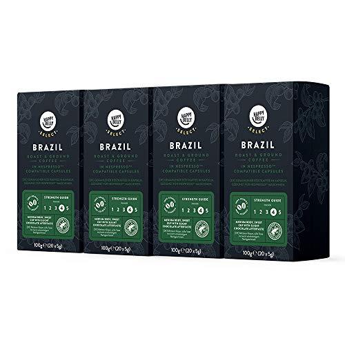 Amazon-Marke: Happy Belly Select Gemahlener Röstkaffee in Kapseln Geeignet für Nespresso Maschinen Mit Kaffeebohnen aus Brasilien, 4 x 20 Kapseln