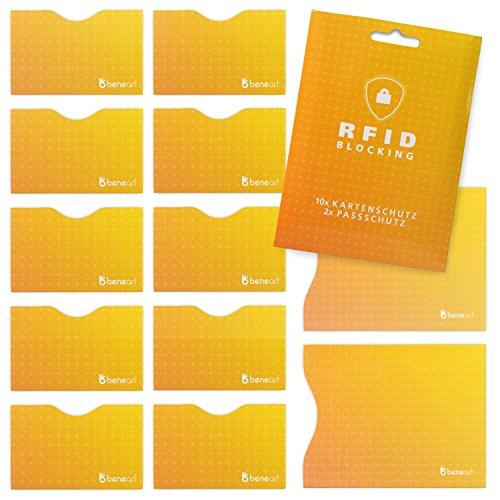 #benehacks RFID Blocking Schutzhülle für Kreditkarte, Personalausweis, Reisepass, EC-Karte, Bankkarte (12 Stück), Farbe:Orange