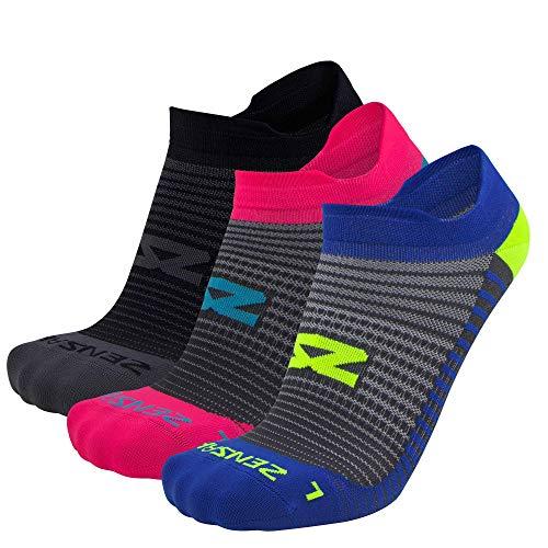 Featherweight Running Socks - Anti-Blister, Ultra Light, No Show Tab, Sport Socks Men and Women (Black/Neon Pink/Sporty Blue, Small (Men's 4-6.5, Women's 5-8))
