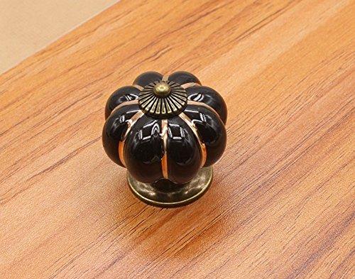 ARMAC - Tirador de cerámica de cajón de Potiron retro de 40 mm, tornillos libres(negro)