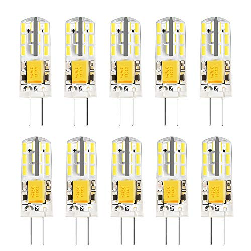 AHEVO G4 Bombillas LED, G4 Mini Cápsulas, Blanco 2W AC DC12V, Igual a 15W Lámparas halógenas (6000K, 10pcs)