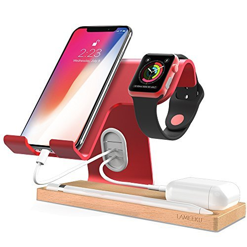 LAMEEKU Cell Phone Stand,Dock Cradle Holder Compatible with Switch, All Android Smartphone, iPhone Xs Max XR 6 6s 7 8 X Plus Charging, Apple Watch Airpods Apple Pencil iPad and Tablets (Red)