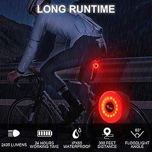 Ryaco Luz Trasera de Bicicleta, Deportiva LED para Bicicleta Recargable por USB, luz Trasera con Freno Inteligente roja de Bicicleta de Alta Intensidad a Prueba de Agua, Mochila o Casco Lámpara LED