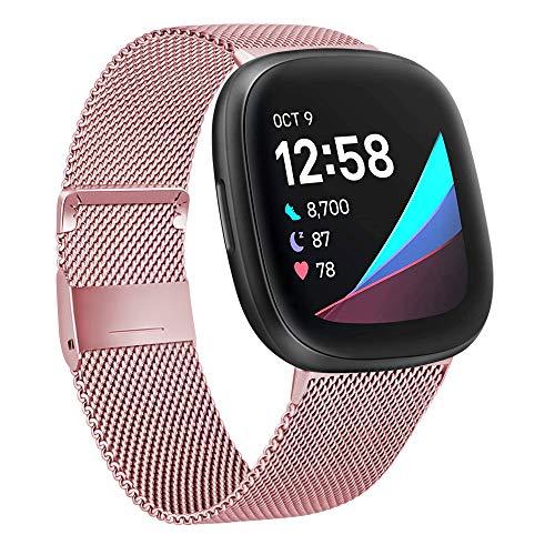 Mugust Compatible con Fitbit Versa 3 Correa/Fitbit Versa Sense Correa, Pulsera de Acero Inoxidable de Metal para Versa 3/Versa Sense, Mujer Hombre (S, Rosa)