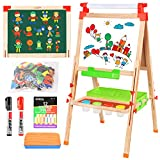 BATTOP Easel for Kids with Paper Roll, Art Easel for Kids 3 in 1 Double Sided Childrens Homeschool Easel Chalkboard Dry Erase Whiteboard Toddler Toy Easel Paint Cups Wooden Adjustable