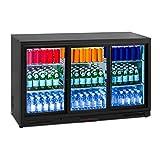 Royal Catering RCGK-318C Nevera Expositora de Bebidas Frigorifico Minibar Nevera para Bebidas Botellas Refrigerador (323 L, 2–10 °C, 220 W, 53x133,5x83,5 cm) Negro