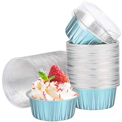 Baking Cups with Lids, 100 PCS 5oz Blue Aluminum Foil Baking Cups Holders, Cupcake Bake Utility Ramekin Clear Pudding Cups for Wedding,Christmas,Kitchen,Birthday Party,Various Holiday Parties