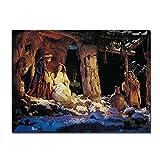 VUSMH Poster religiosos navideños Imprime el Nacimiento de Jesús Pintura al óleo sobre Lienzo Cuadros de Arte de Pared escandinavo para Decoracion de Salon de Estar 80x120cmx1 sin Marco