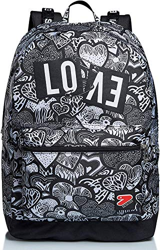 seven. Zaino Scuola Double Drawing Love 44x33x16 cm con Cuffie Wireless