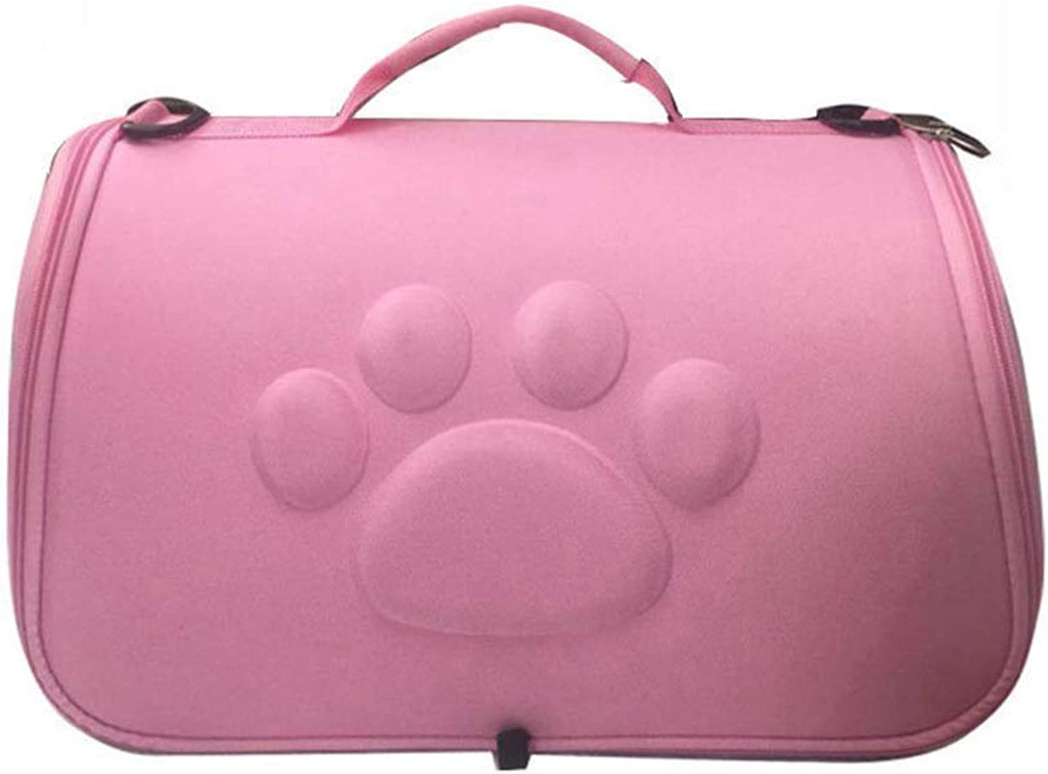 HYUE Collapsable Pet Travel Bag Pet TakeOut Breathable Backpack Portable Cat Dog Out Bag (color   Pink, Size   L)