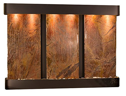 Olympus Falls Water Feature with Blackened Copper Trim and Round Edges (Rainforest Brown Marble)