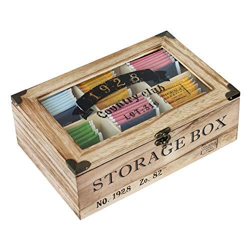 Caja de almacenamiento con ventana de visualizacion 24.4x16x8cm 6 compartimentos caja de te de estilo vintage natural/negro