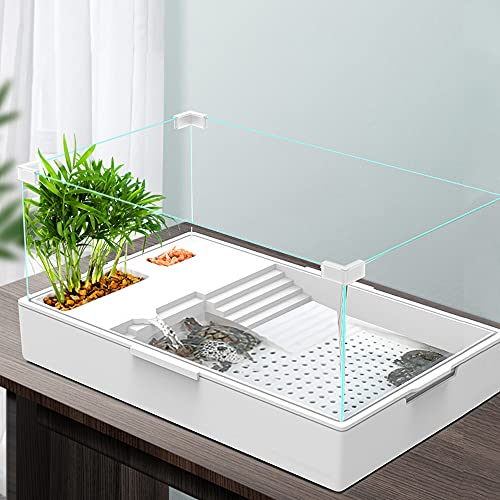 AMOSIJOY Glass Turtle Tank Aquarium Reptile Tortoise Habitat Turtle Basking Platform with Pump, Filter and Filter Layer Design, Prevent from Escaping (Large)