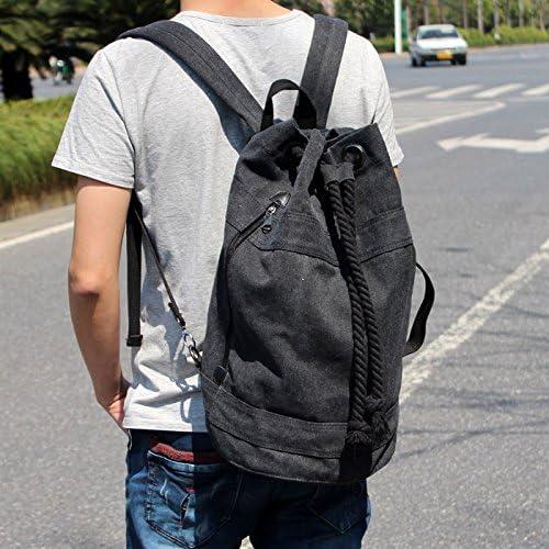 Student Bucket Bag Travel mann Tasche koreanische Edition canvas Seil Schultertasche Doppel schultern Freizeitaktivit n Zylinder Rucksack Tasche, blau