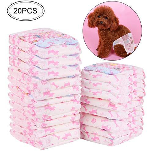RCruning-EU Hond Sanitaire Broek Wegwerp Vrouwelijke Hond Luiers, Puppy Nappies-16Pack (S:3-5KG), 20Pack(XXS:1-2KG), Zoals getoond