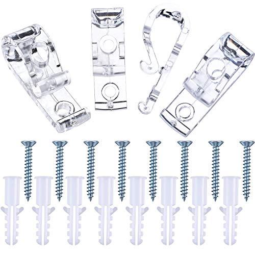 Anjing - Juego de 4 persianas romanas con clip transparente para ganchos y tornillos