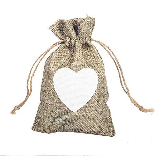PLUS PO - Bolsas de arpillera con cordón para regalo de Navidad, decoración del árbol de Navidad, bolsa de regalo de Navidad, bolsa de regalo para fiestas, bolsas de 5 piezas