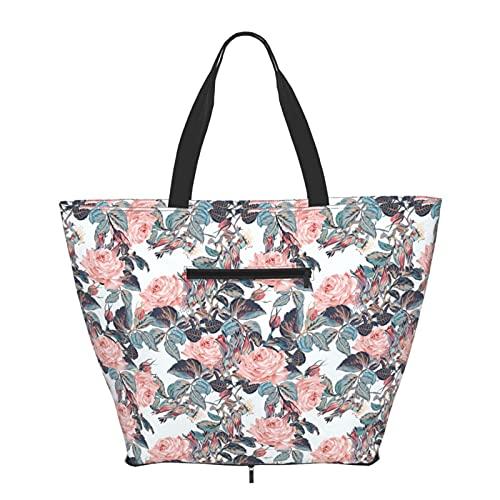 Bolsa de hombro hermosa elegante rosa patrón de rosas bolsa de mano plegable para mujeres niñas grande reutilizable llevar gran bolsa de viaje bolsas de hombro de moda