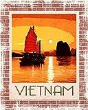 AMELIA SHARPE Cartel de viaje de Vietnam Hanoi Ho Chi Minh de China, placa de mar de 30,5 x 20,3 cm