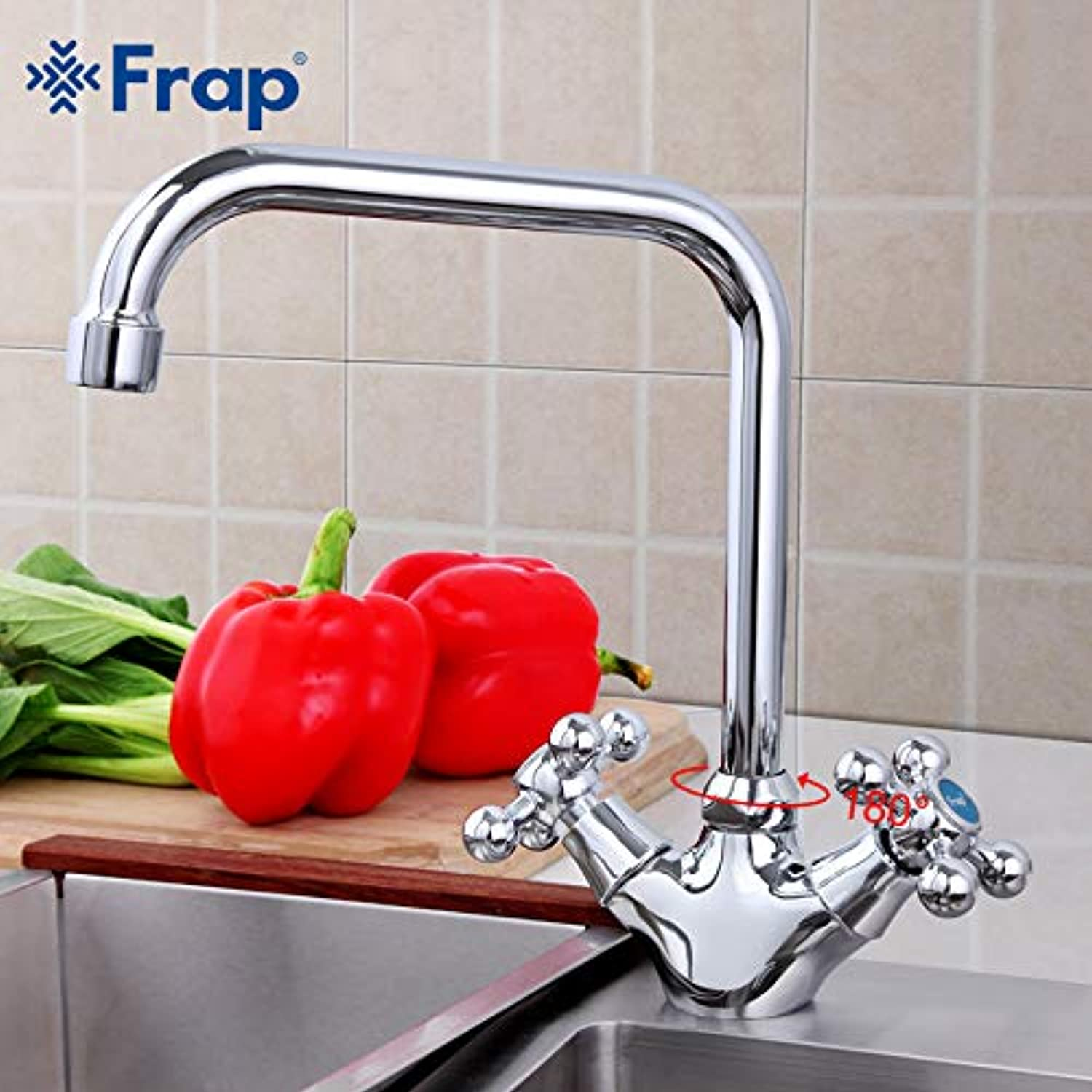 U-Enjoy Chandelier 360 Degree Stylish redation Alloy Top Quality Body Zinc Kitchen Sink Faucet and Cold Handle Hot Separation Taps F4019 F4019 Free Shipping