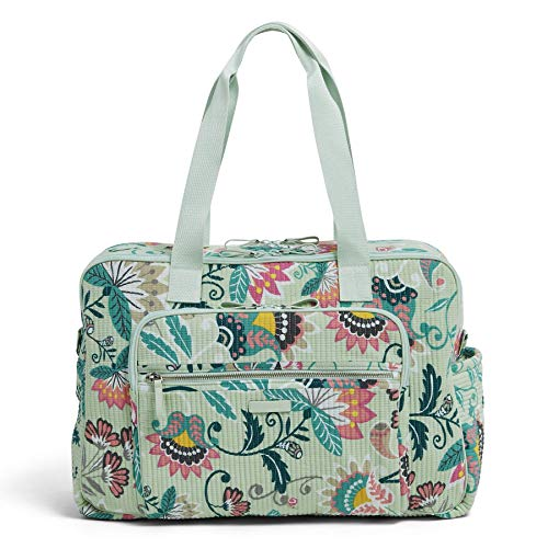 Vera Bradley Signature Cotton Deluxe Weekender Travel Bag, Mint Flowers