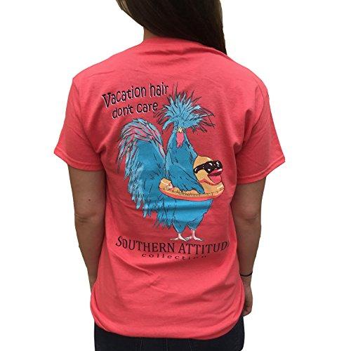Southern Attitude Chicken in Duck Floatie Coral Women's T-Shirt (Medium)