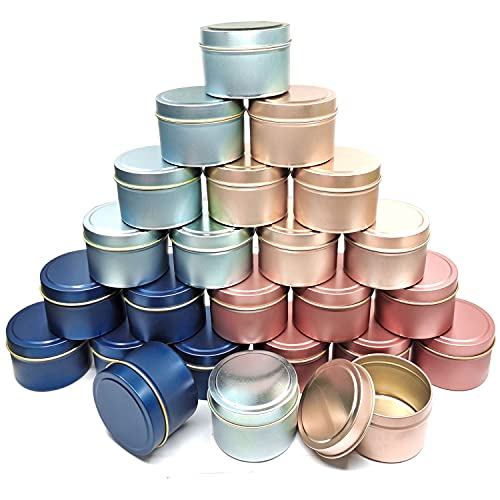 24Pcs 4oz Candle Tins for DIY Candle, Metal Candle Container Tins for Candle Making Dark Blue Light Blue Champagne Rose Gold Container Tins