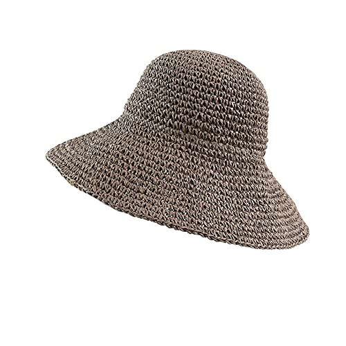N\C Sombrero de paja tejida a mano de gran borde para mujer, protector solar, sombrero de pescador, plegable, sombrero de playa anti-UV