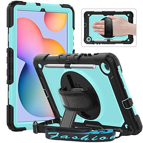 Timecity Case for Galaxy Tab S6 Lite 10.4'' 2020 (SM-P610/P615), Shockproof Full-body Protection 360 Rotating Stand Case with Screen Protector/Hand Strap for Tab S6 Lite 10.4 inch, Light Blue