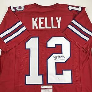 Autographed/Signed Jim Kelly Buffalo Red Football Jersey JSA COA