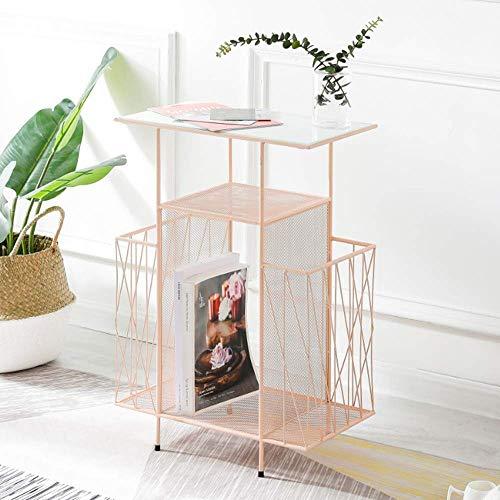 N/Z Living Equipment Escritorios Mesa Auxiliar Dormitorio Estante de Almacenamiento/Libro de Piso a Techo/Mesita de Noche para el hogar de Hierro Forjado/Estante Banco de Trabajo (Color: Pink)
