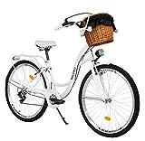 Milord. Bicicletta Comfort Bianco a 7 velocità da 26 Pollici con cestello e Marsupio Posteriore, Bici Olandese, Bici da Donna, City Bike, retrò, Vintage