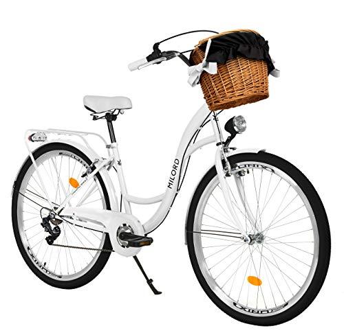 Milord. Bicicletta Comfort Bianco a 7 velocità da 26 Pollici con cestello e Marsupio Posteriore,...