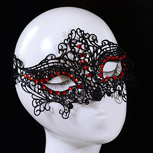 Masque de bal vénitien noir en dentelle avec strass rouges
