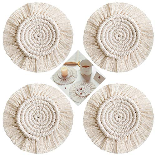 Set of 4 Coasters Non-Slip Round Woven Cushions Plain Heat Resistant Handmade Placemats Bohemian Style Coasters
