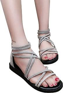 ACHICOO Women Flat Heel Non Slip Peep Toe Beach Strip Sandals