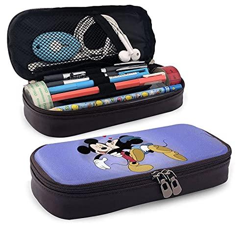 Estuche de piel con diseño de Mickey Cartoon Mouse Minnie con cremallera, ideal para la escuela, el trabajo y la oficina