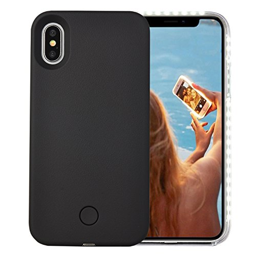 Wellerly iPhone Xs Case, iPhone X Case, LED Illuminated Selfie Light Cell Phone Case Cover [Rechargeable] Light Up Luminous Selfie Flashlight Case for iPhone X/XS 5.8inch (Black)