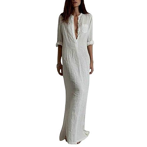 Goede White Maxi Shirt Dress: Amazon.com ZS-54