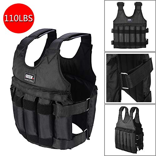 Kusou Weighted Vest Jacket 110LB Adjustable Weight Workout Exercise Strength Training Equipment Running Pull-Ups Weight Lifting Fitness for Men, Women, Kids