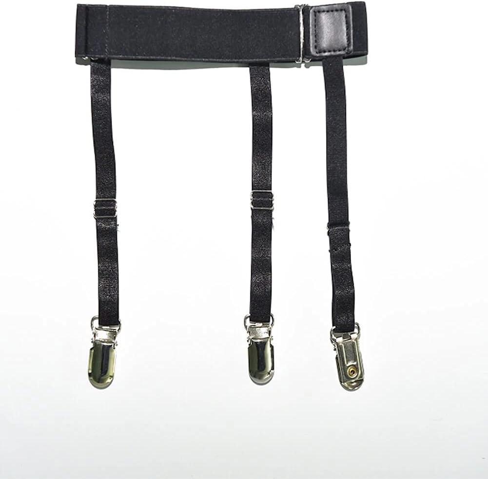 2 Pcs Men Shirt Stays Belt with Non-Slip Locking Clips Keep Shirt Tucked Leg Thigh Suspender Garters Strap Adjustable Locking