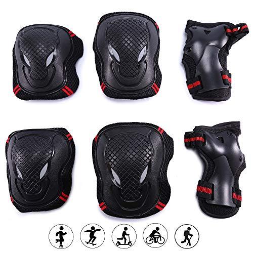 G-raphy Protektoren Sets für Kinder Erwachsene Knieschoner Ellenbogenschützer Handgelenkschoner Set Schwarz für Radfahren Roller Skating Inline-Skate (Rot, L)