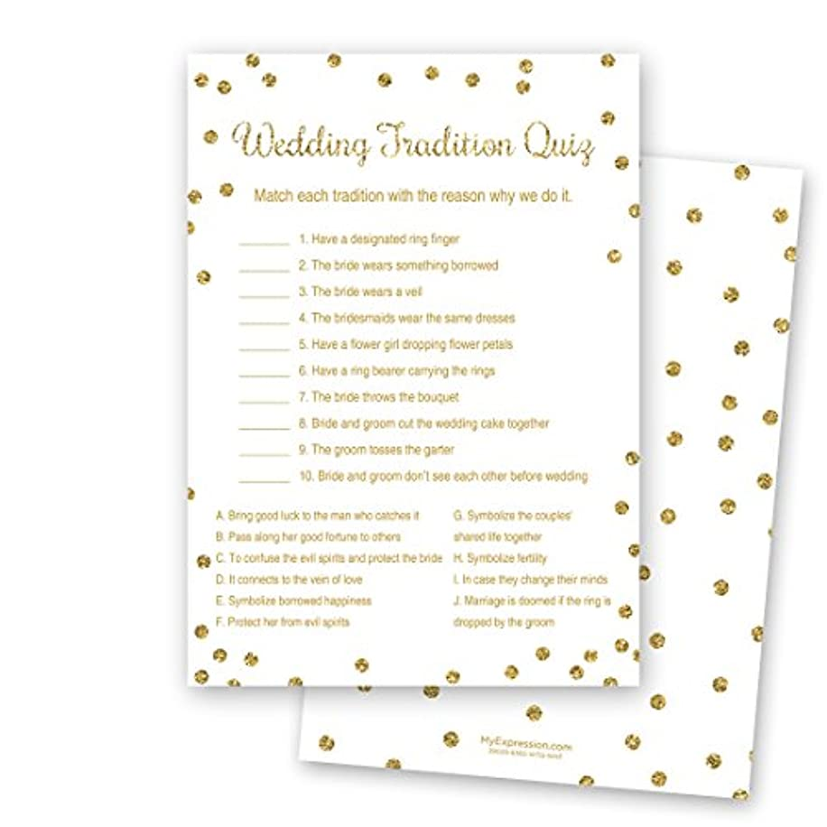 24 Cnt Gold Glitter Wedding Tradition Quiz Cards (White)