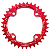 Dymoece Narrow Wide Bike Single Chainring 104BCD 32T/34T/36T/38T for 9 10 11 Speed(Round,Black/Red,Perfect for Most of Shimano and Sram Cranksets (Red, 36T)