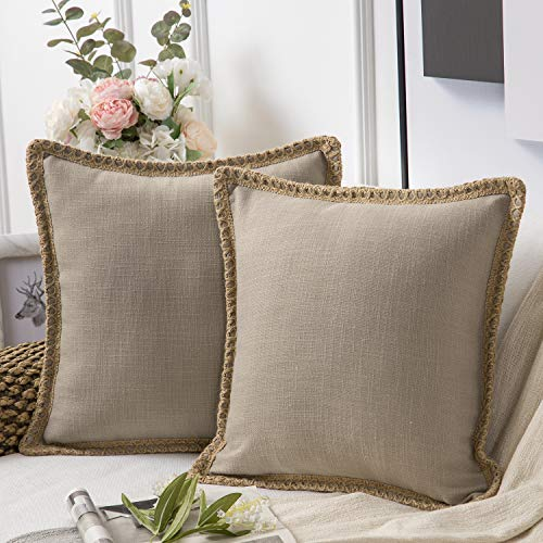 Phantoscope Pack of 2 Farmhouse Decorative Throw Pillow Covers Burlap Linen Trimmed Tailored Edges Beige 26 x 26 inches, 65 x 65 cm