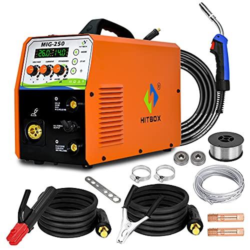 HITBOX Soldador de hilo 3 en 1MIG250 180A 230V Soldadura sin gas con gas, Soldadora digital LIFT TIG ARC, inversor IGBT, soldadora de varilla MAG MMA Inventer con alambre de alimentación automática