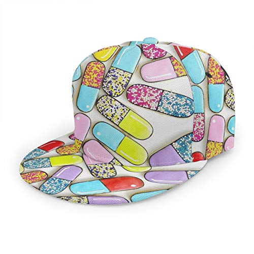 Baseball Caps Dad Hats Adjustable Button Closure Design Colorful Pills White