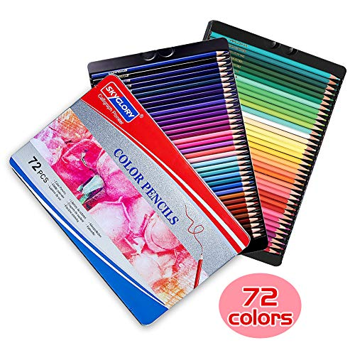 Colored Pencils Art Supplies Set with Bright Colour Advanced Soft core Color Pencils Use for Kids and Adults Coloring Books, Artist Sketches for Shadows and Coloring (Tin Box Packaging), 72 Colors