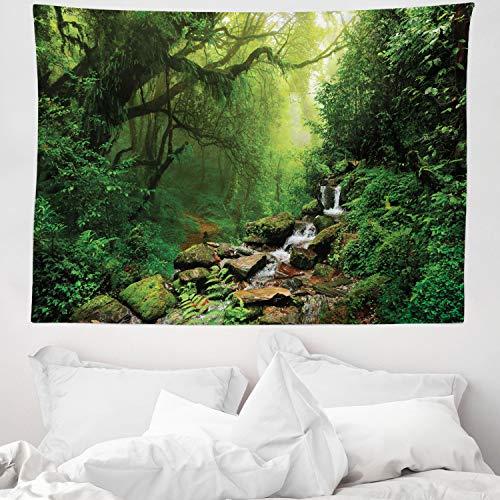 ABAKUHAUS Regenwald Wandteppich & Tagesdecke, Spring in Nepal Footpath, aus Weiches Mikrofaser Stoff Wand Dekoration Für Schlafzimmer, 150 x 110 cm, Grünbraun