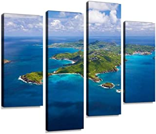 4 Panels Canvas Paintings - Aerial View of St Barths, French West Indies - Wall Art Modern Posters Framed Ready to Hang for Home Wall Decor